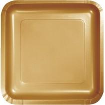 "9"" Square Plate Glittering Gold"