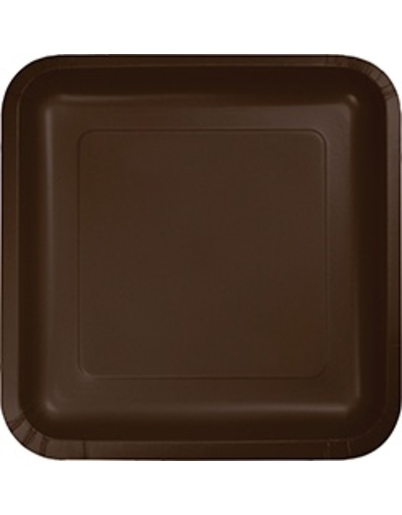 "9"" Square Plate Chocolate Brown"