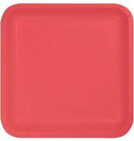 """9"""" Square Plate Coral"""