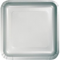 """7"""" Square Plates Shimmering Silver"""