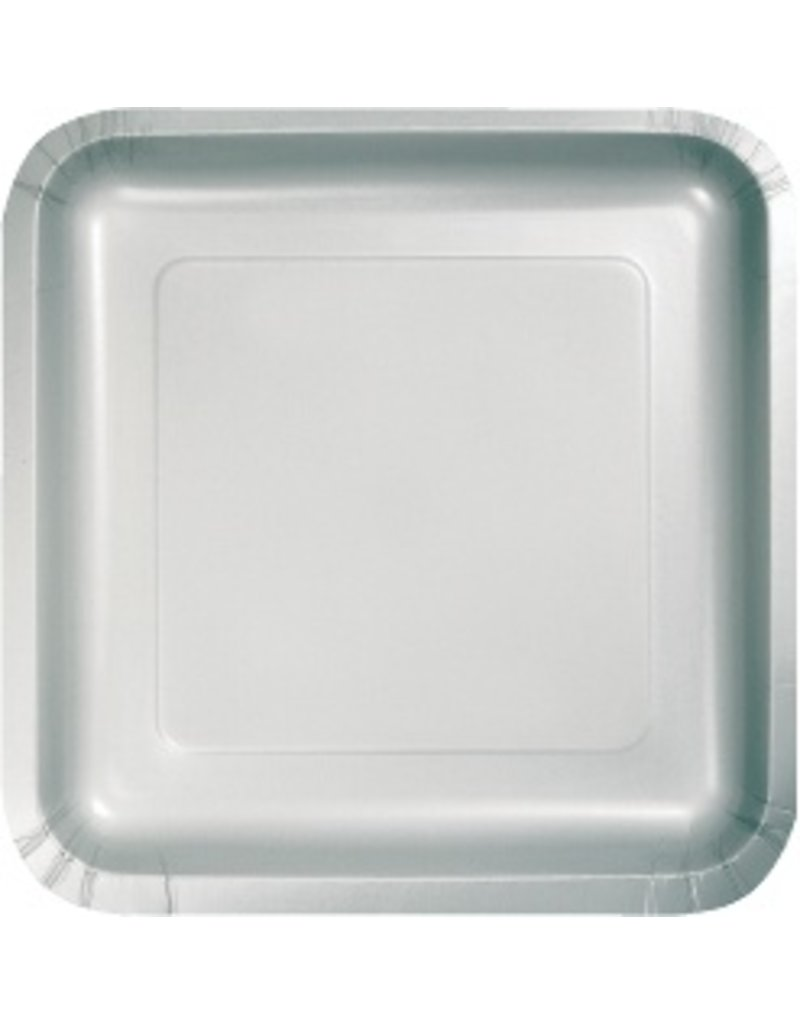 "7"" Square Plates Shimmering Silver"