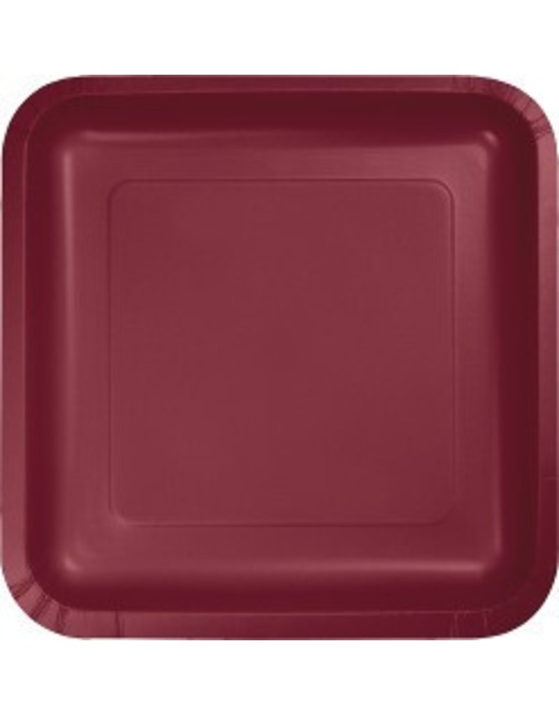 "7"" Square Plates Burgundy"