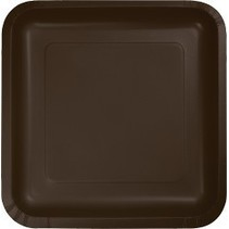 "7"" Square Plates Chocolate Brown"