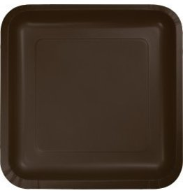 "7"" Square Plates Chocolate Brown"