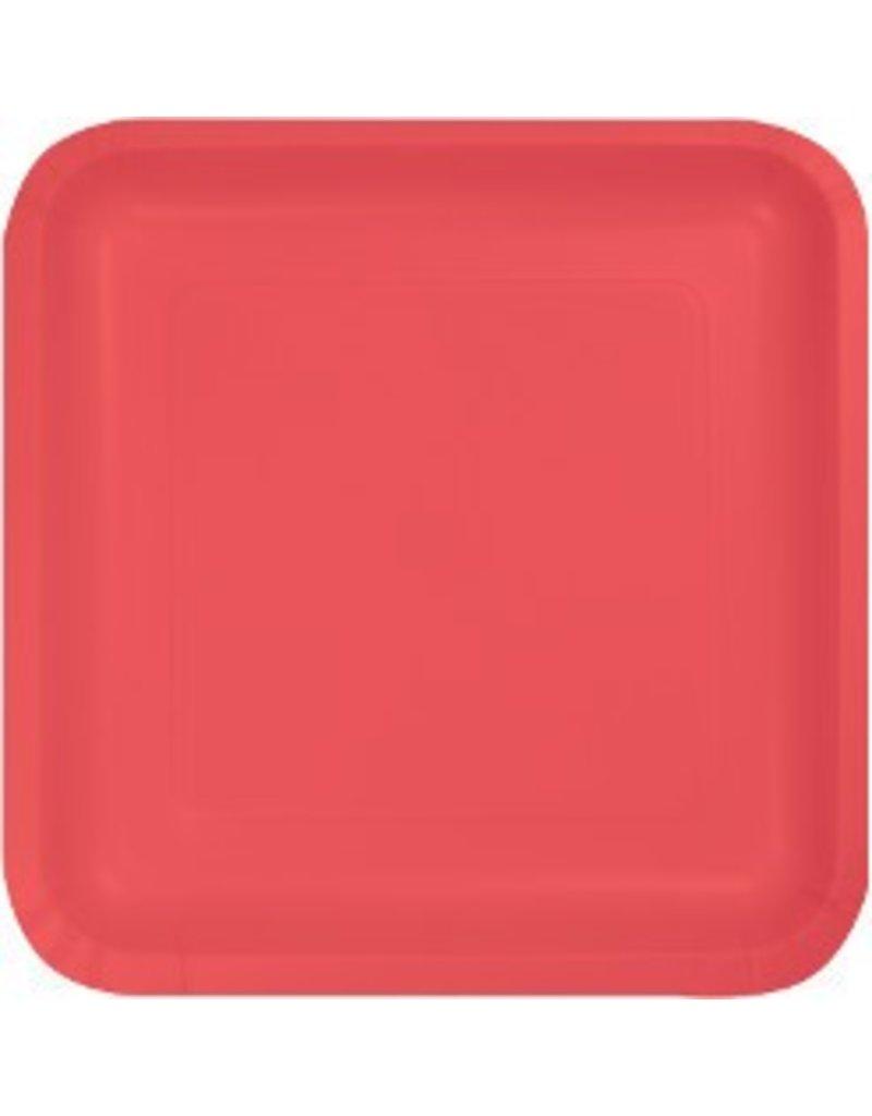 """7"""" Square Plates Coral"""