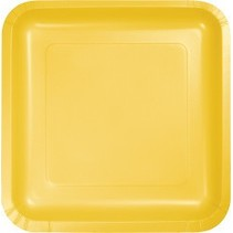 "7"" Square Plates School Bus Yellow"