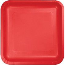 "7"" Square Plates Classic Red"