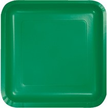 "7"" Square Plates Emerald Green"