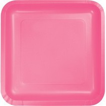 """7"""" Square Plates Candy Pink"""