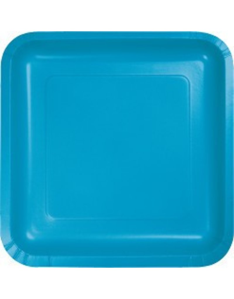 "7"" Square Plates Turquoise"