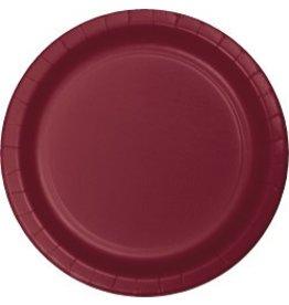 """9"""" Round Plates Burgundy"""