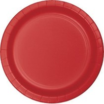 "9"" Round Plates Classic Red"