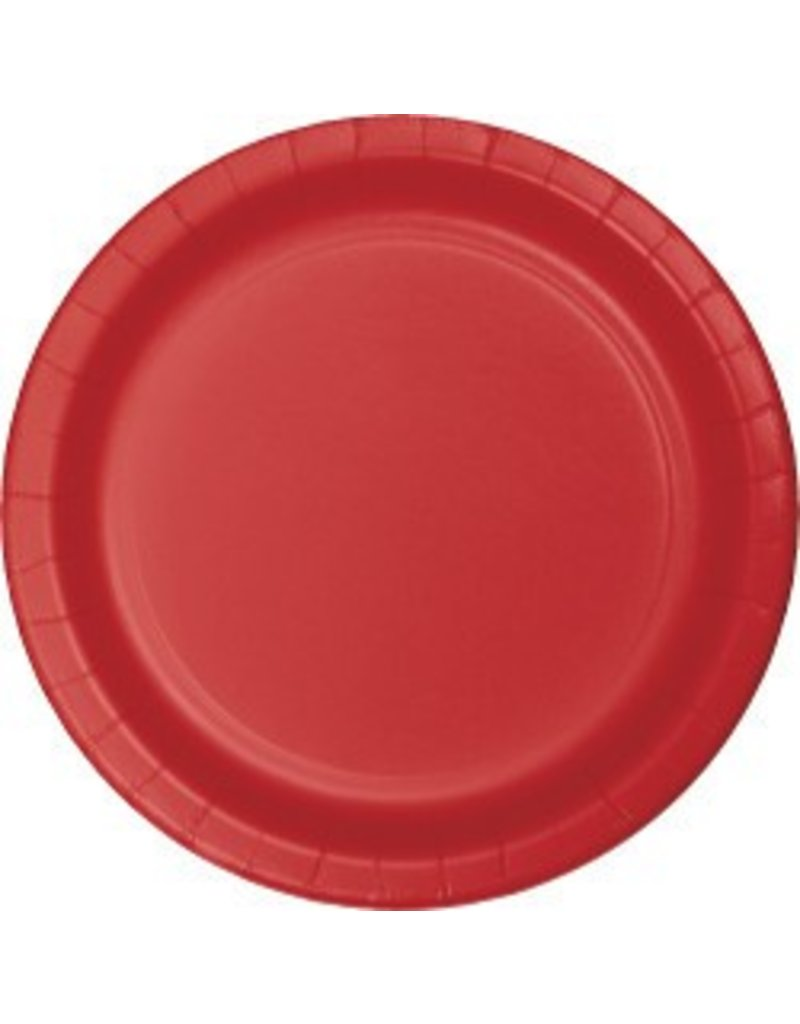 """9"""" Round Plates Classic Red"""