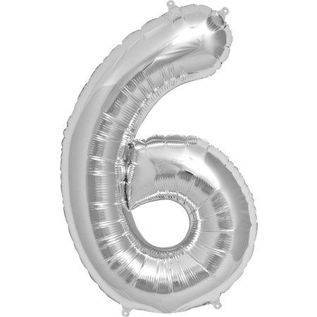 """34"""" Silver Foil 6 Balloon"""