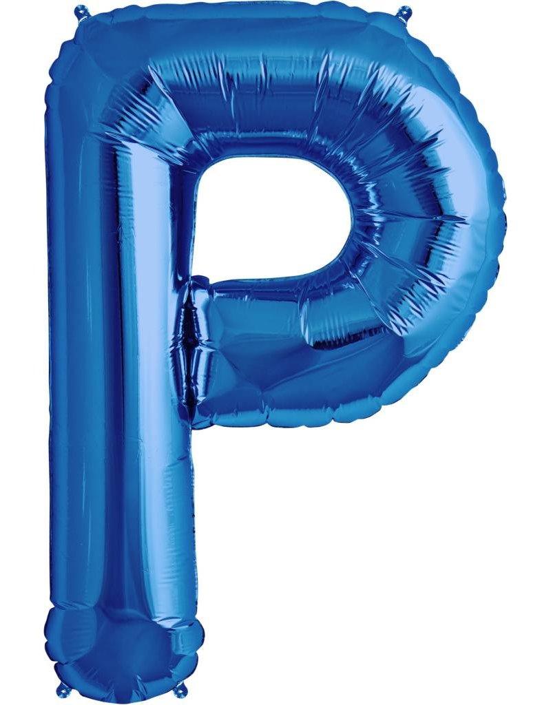 """34"""" Blue Foil P Balloon"""