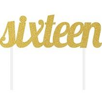 sixteen Gold Cake Topper