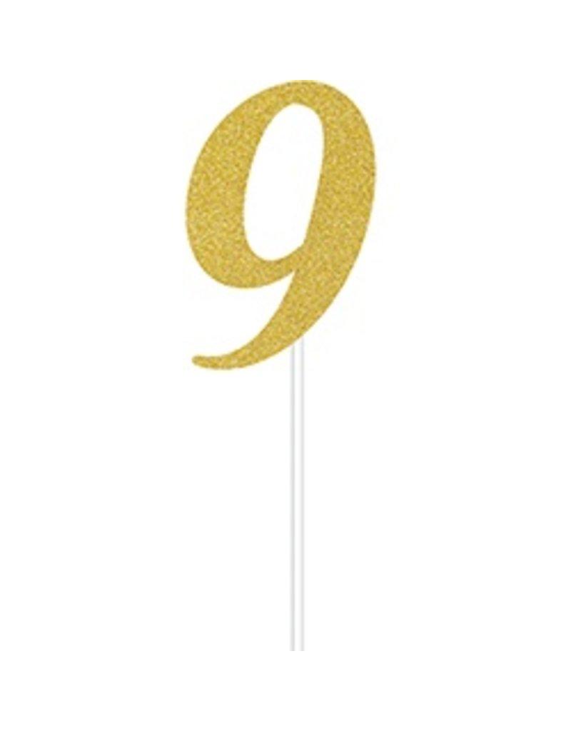 9 Gold Cake Topper