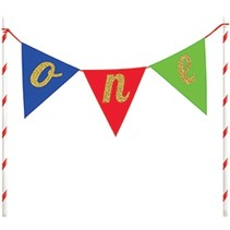 Cake Topper One Pennants Multi-Color