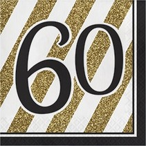 Luncheon Napkins 60 Black & Gold