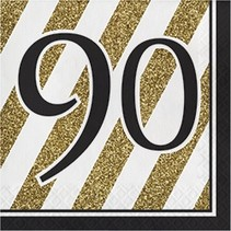 Luncheon Napkins 90 Black & Gold