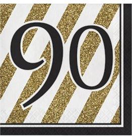 Luncheon Napkins 90 Black & Gold
