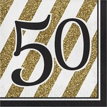 Luncheon Napkins 50 Black & Gold
