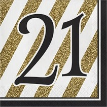 Luncheon Napkins 21 Black & Gold