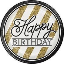 "9"" Plates Black & Gold Birthday"