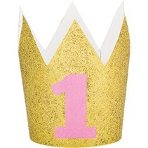 Glitter Crown 1st Birthday Pink