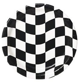 """7"""" Plates Black White Check"""