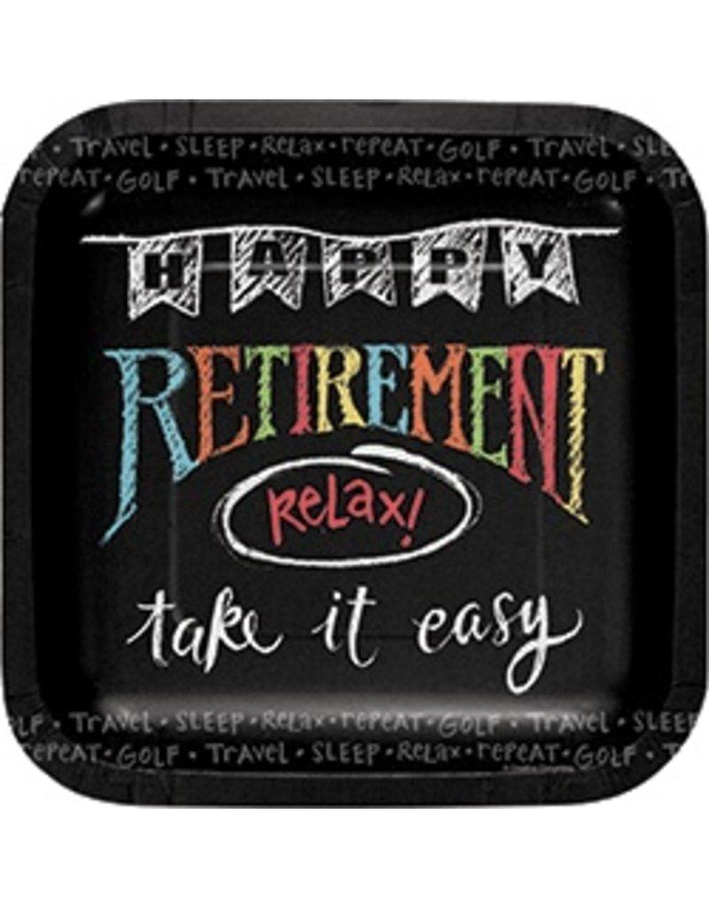 "7"" Sqaure Plates Retirement Chalk"
