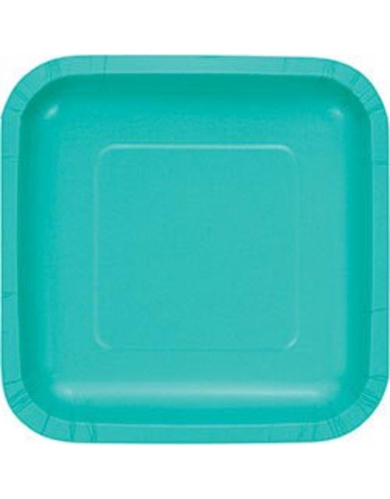 "7"" Square Plates Teal Lagoon"