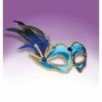 Blue Half Mask with Feathers