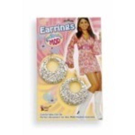 60's Mod Earrings Silver