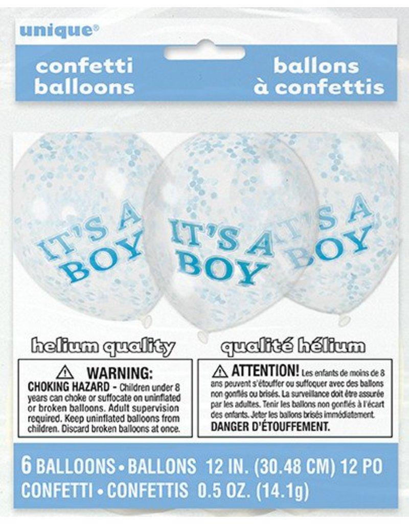 6 It's A Boy Confetti Balloons