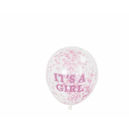 6 It's A Girl Confetti Balloons