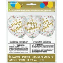 Six Happy Birthday Confetti Balloons