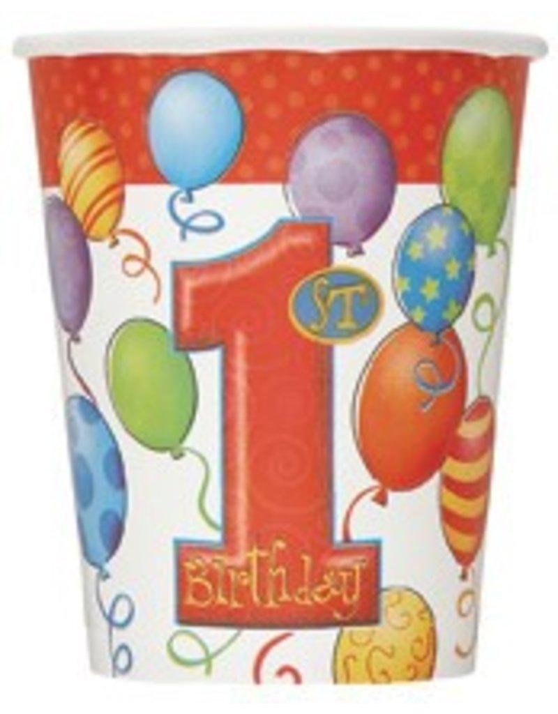 1st Birthday Balloons Cups 8 Ct