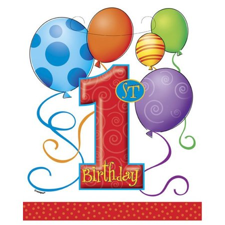 1st Birthday Balloon Loot Bags 8 CT