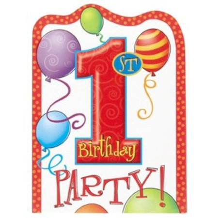 1st Birthday Balloons Invitations 8 Ct