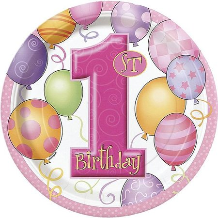 "1st Birthday Pink 9"" Plate"