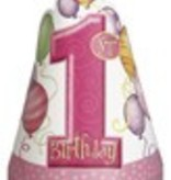 1st Birthday Pink Hats 8 CT