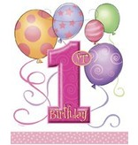 1st Birthday Pink Loot Bags 8CT