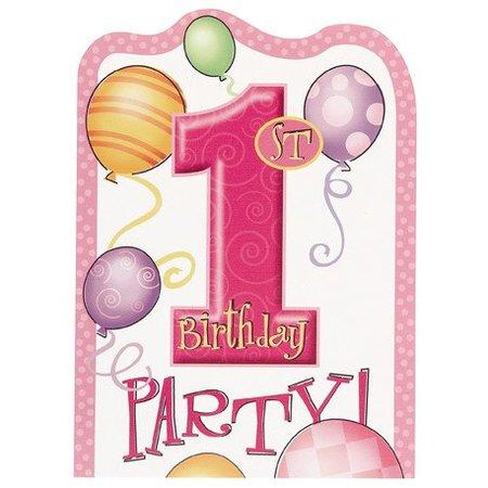 1st Birthday Pink Invitations 8 CT