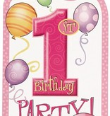 1st Birthday Pink Invitations 8 CT