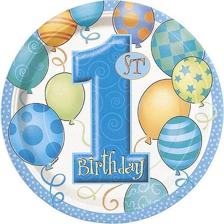 "1st Birthday 7"" Plates 8 Ct"