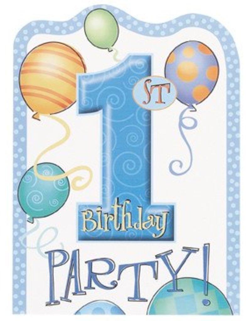 1st Birthday Blue Invitations 8 CT