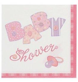 Baby Stitch Beverage Napkin Pink