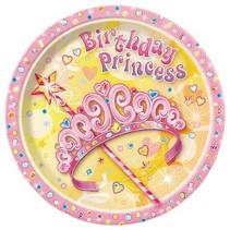 """Birthday Princess 9"""" Plate 8 CT"""