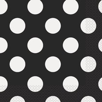 Black Polka Dot Luncheon Napkin